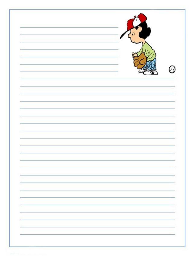 Imprimir gratis papel infantil para niños para escribir cartas de ...