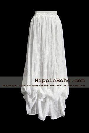 b0bd7f579fe No.017 - Hippie Boho Gypsy White Pumpkin Dress or Maxi Full Long Length  Skirt Plus Size Women s Clothing