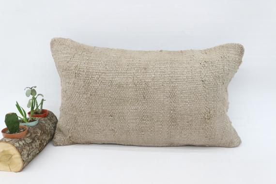 Organic Pillow, Beige Pillow, Traditional Pillow, 12x20, Pillow Case, Hemp Pillow, Bedding Pillow, K