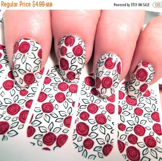 ON SALE 18 Red ROSE Nail Art Decals on Clear (Ros2X2) Look Hand ...