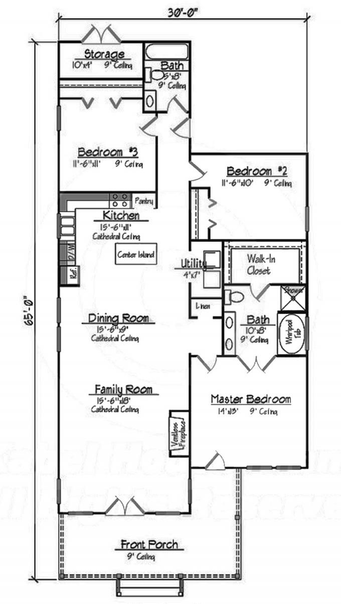 #653489 Small 3 Bedroom 2 Bath Southern Cottage with great Master : House Plans Floor Plans