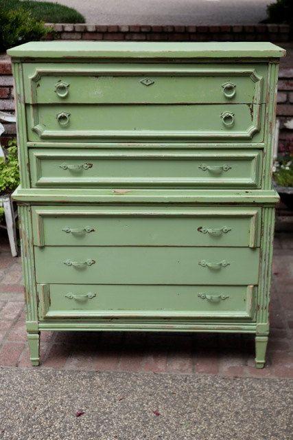 Vintage Green Cottage Highboy Dresser by ShabbyChicFairytale, $324.99