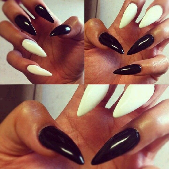 White Black Stiletto Nails With Images White Gel Nails