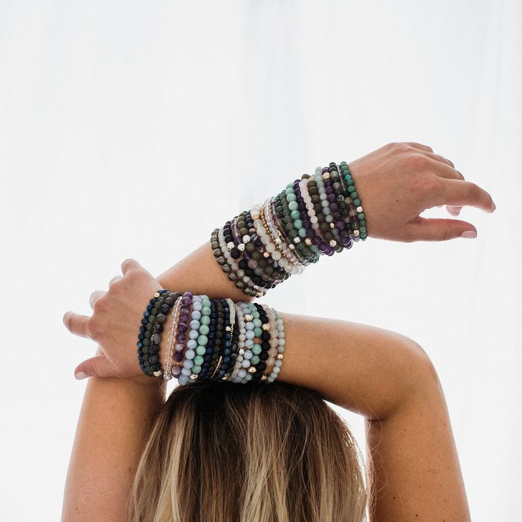 Healingcrystals Logo: Big Stacks Of Gemstone Bracelets Artistic Jewelry Photo