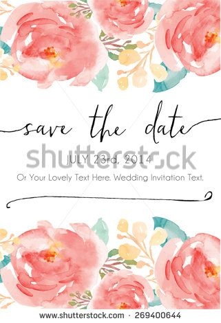 Calligraphy Vector Save The Date Watercolor Vector Invitation