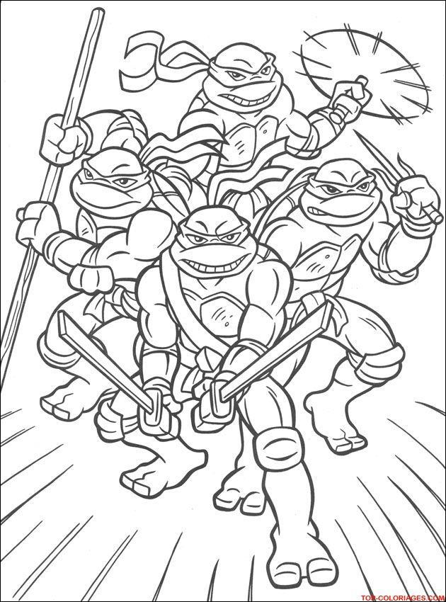 Coloriages Turtles Ninja Tout En Famille Az Coloriage With