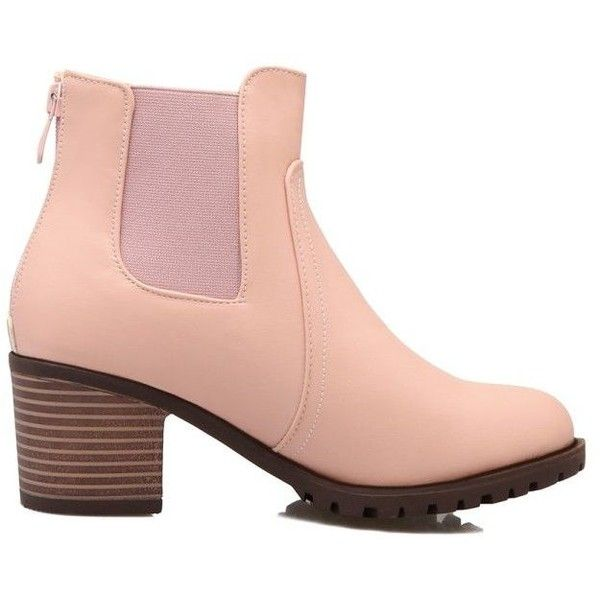 Belted Chunky Heel Ankle Boots ($56) ❤ liked on Polyvore featuring shoes, boots, ankle booties, ankle boots, short boots, mid heel ankle boots, pink ankle boots, chunky heel booties and mid-heel boots