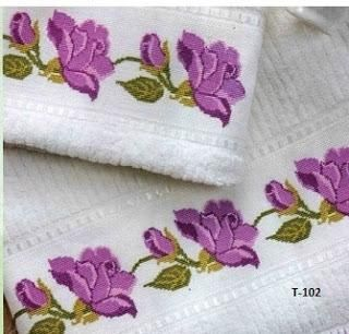 Kits de toallas a punto de cruz toallas punto de cruz y puntos - Cenefas punto de cruz para toallas de bano ...