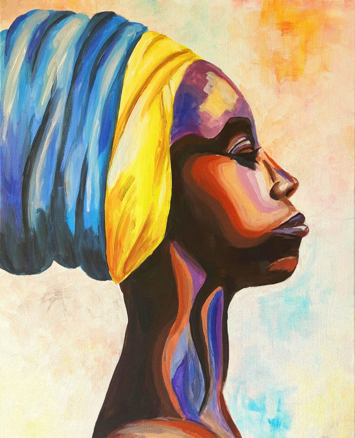 Artmasters African Beauty Acryl Afrikanerin Portrat Leinwand Kreative Events Acryl Leinwand Leinwand Malen Malerei