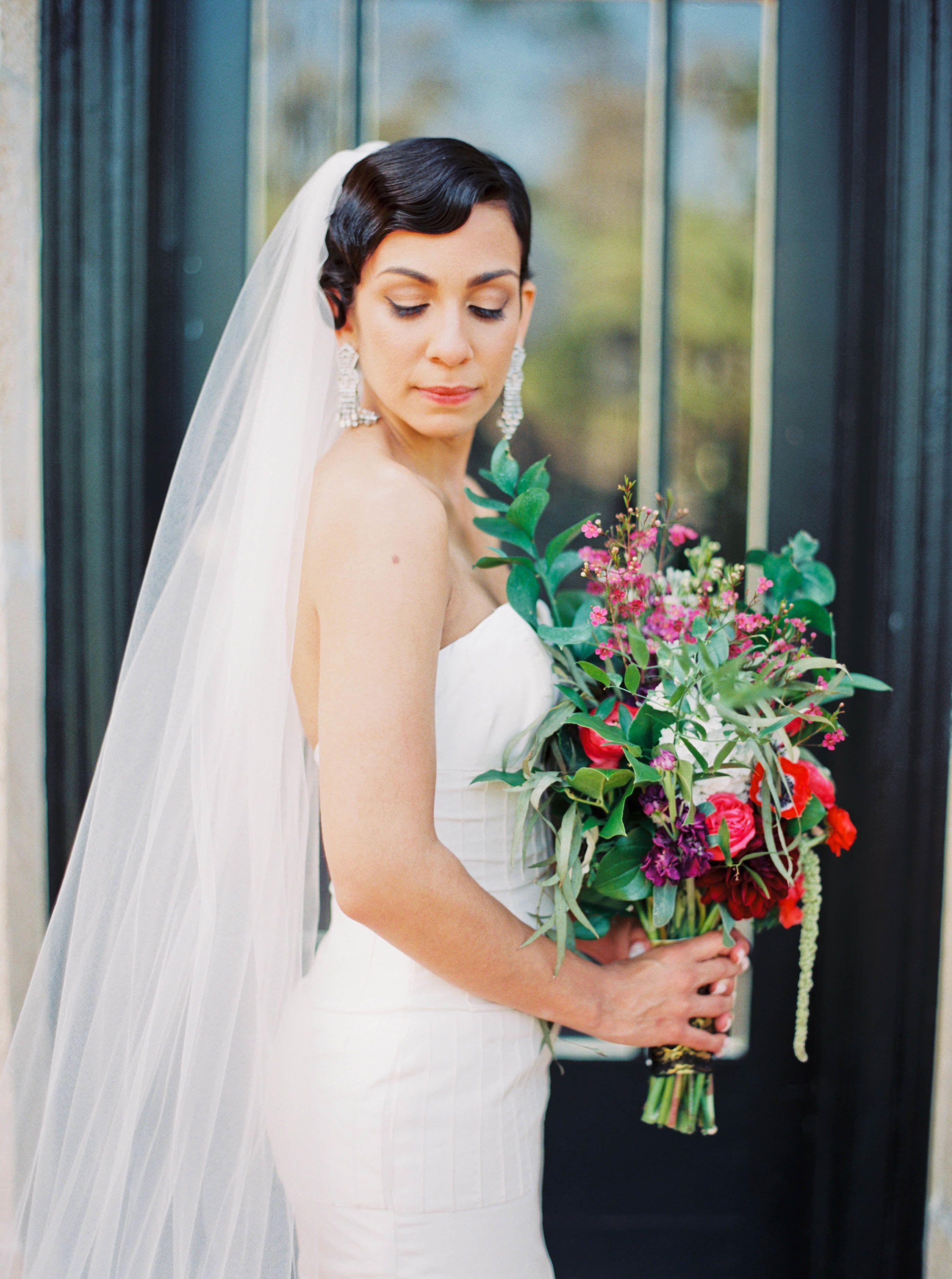 Camo and orange wedding dresses  Vintage Glam Florida Wedding  Bridal hairdo Finger waves and