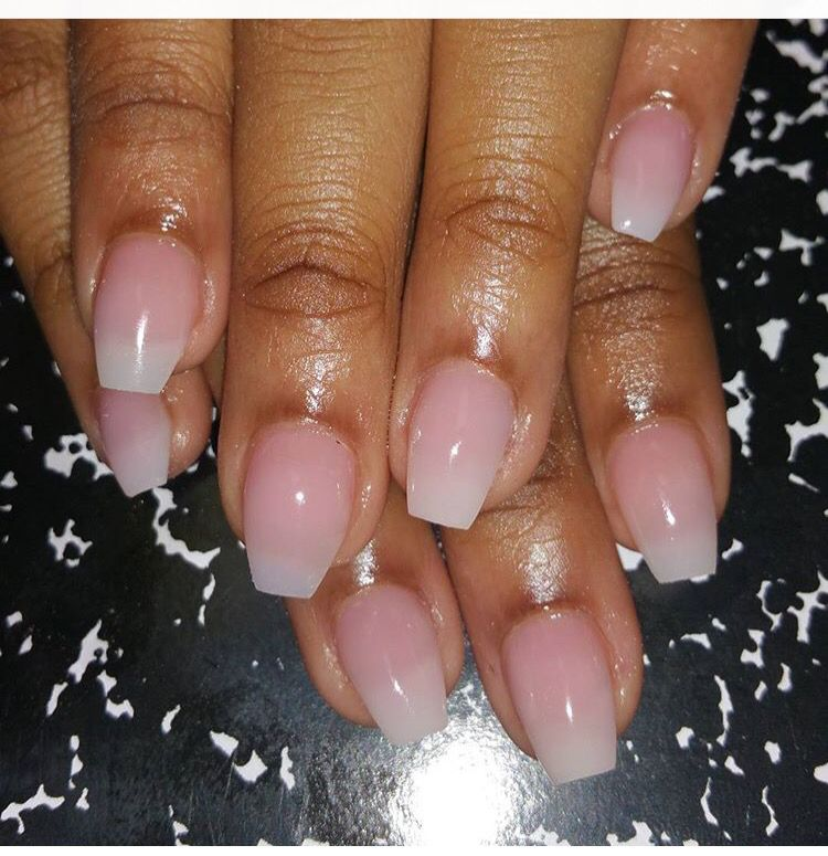 French Ombré Acrylic short Coffin Nails perfect for 2016 spring ...