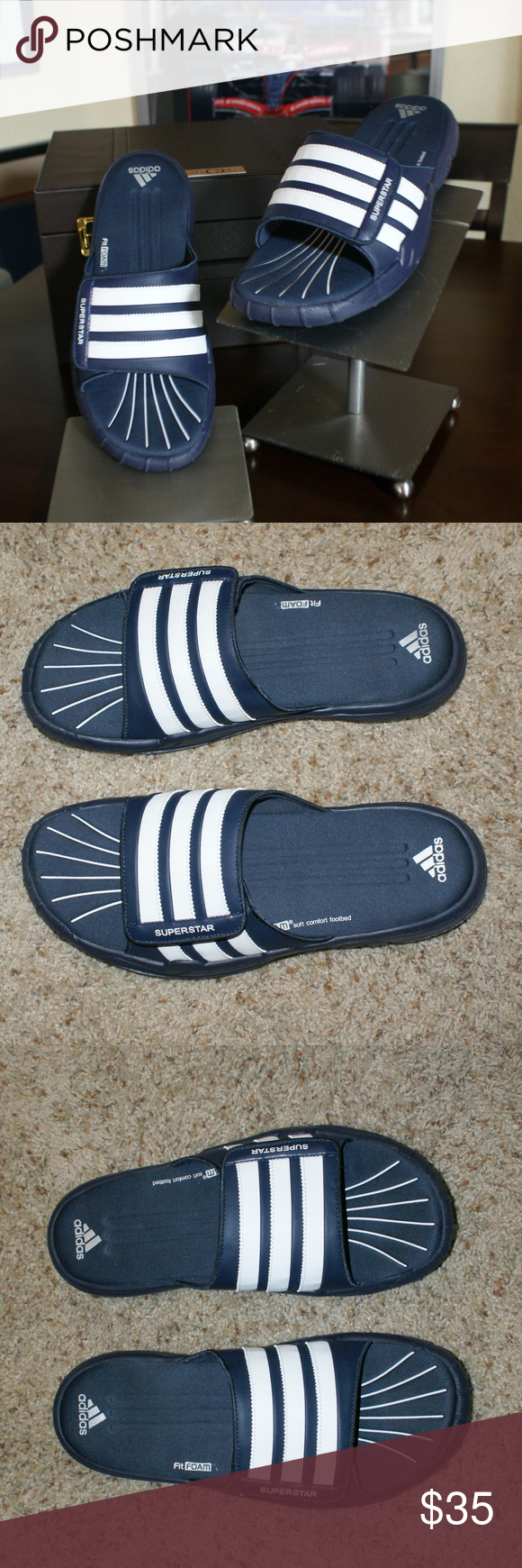 33801d17080fb3 ... official adidas superstar slides mens size 11nwt adidas superstar slides  mens size 11 46170 7249f new ...