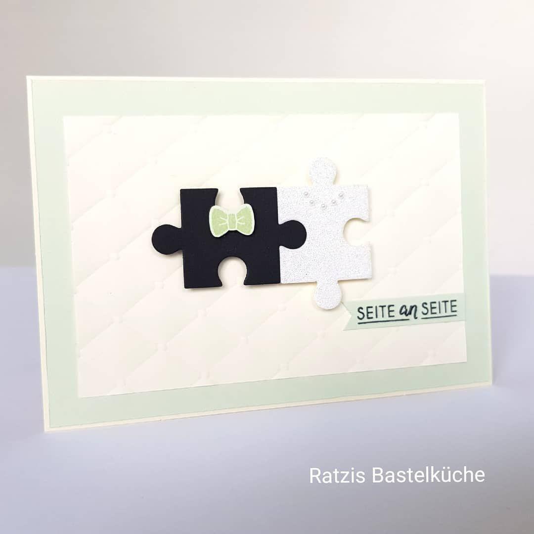 Puzzlepieces Puzzleteile Stampin Up Hochzeitskarte Seite An