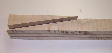 Results of the scarf joint cut.