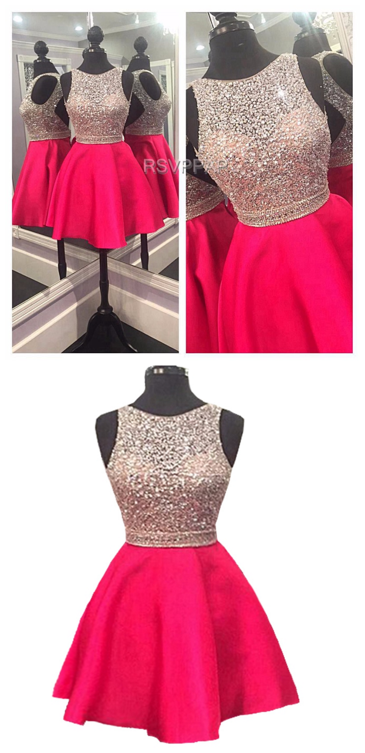 Sparkly short homecoming dress cute hot pink top beaded sweet