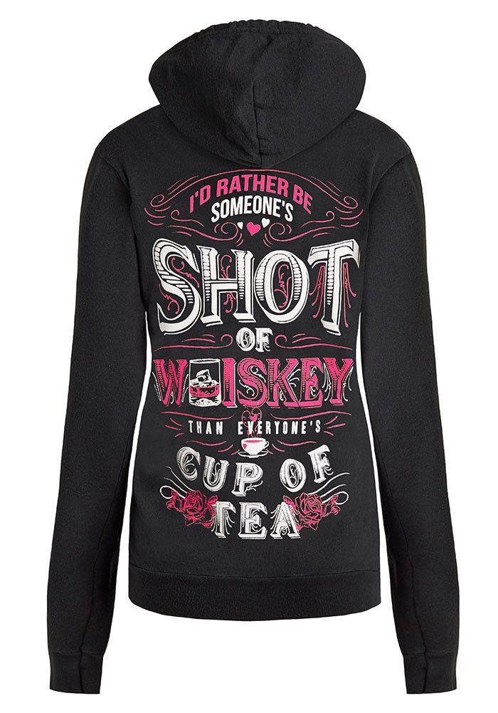Zip Up Hoodie: Someone's Shot Of Whiskey Extra Small / Faded Black, Zip Up Hoodies - Cute n' Country, Cute n' Country  - 1
