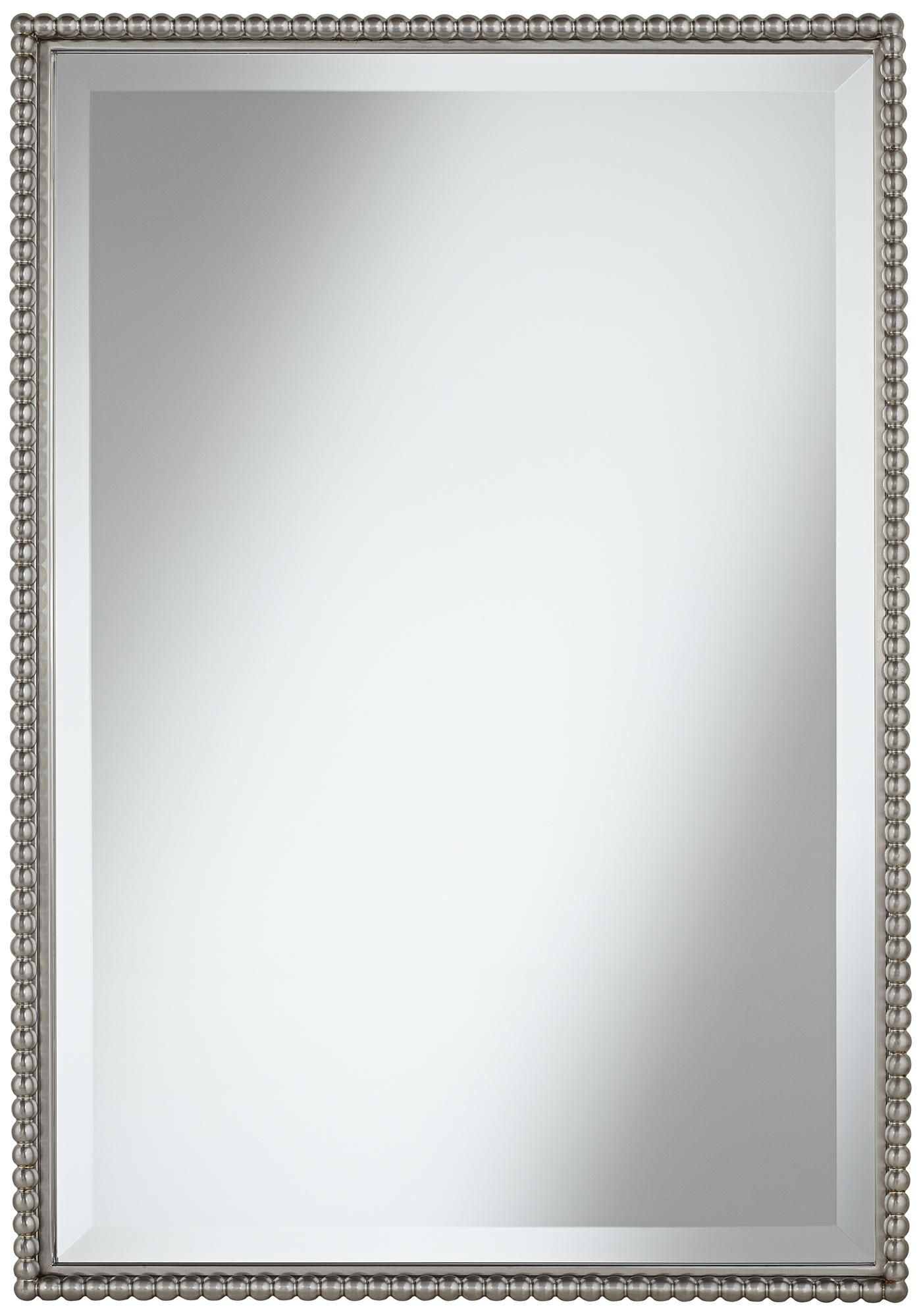 Uttermost Sherise Beaded 31 High Rectangular Wall Mirror Brushed Nickel MirrorMaster BathroomsWall MirrorsMasters