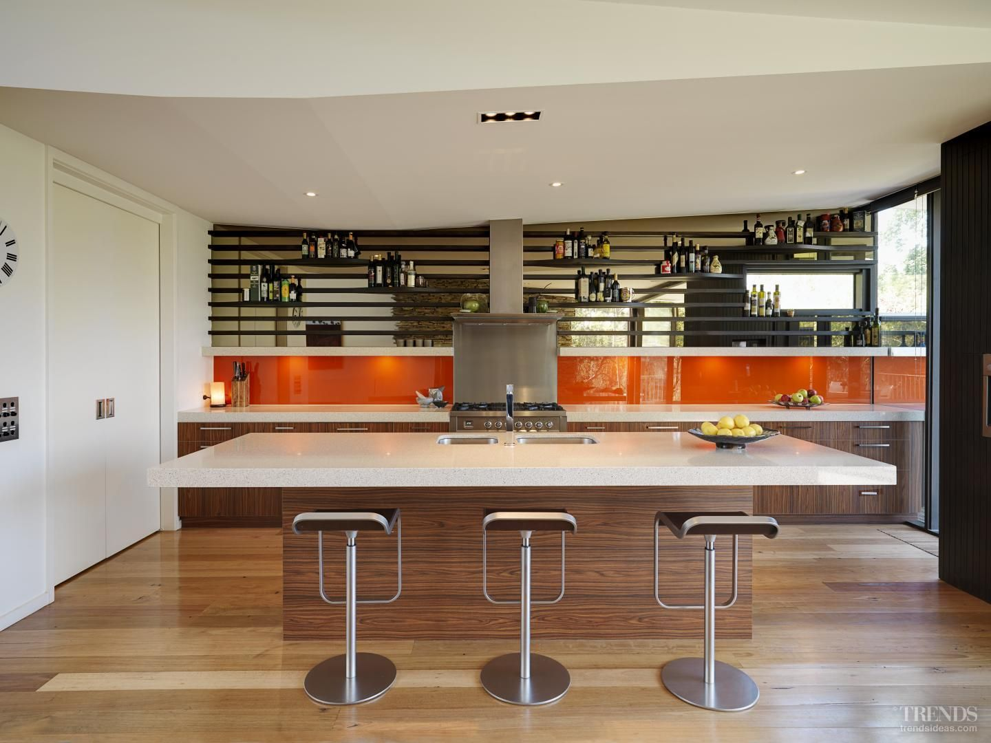 kitchen glass splashback orange Google Search