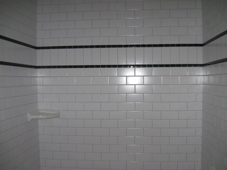 White Subway Tile With Black Accent Google Search