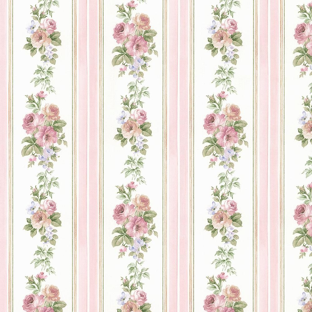 Norwall Small Rose Stripe Wallpaper, Pink/ Blue Striped