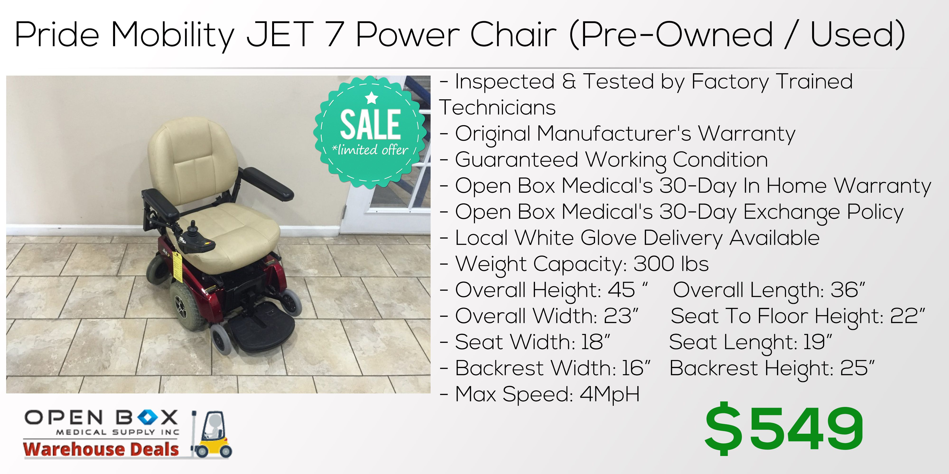 Pride Mobility Jet 7 Power Chair Used Pride Mobility Power