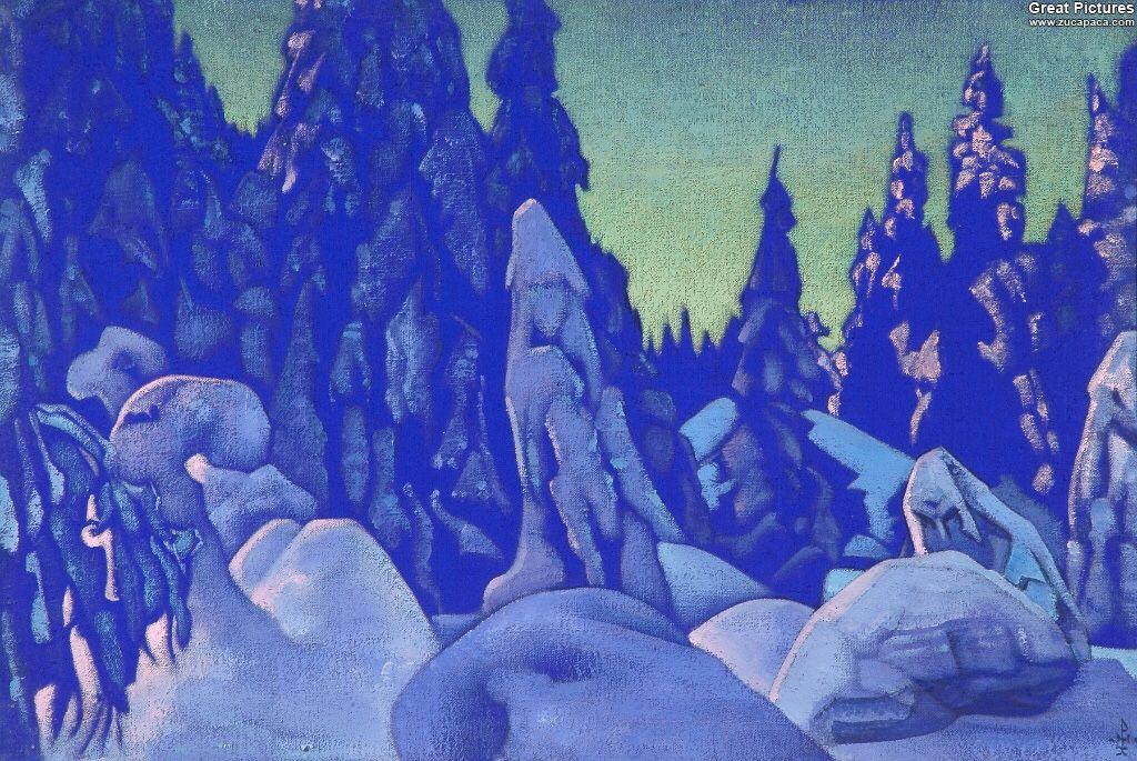 Nicholas Roerich: Snow Guardians, 1922. Tempera on cardboard, 51.5 x 76 cm. Nicholas Roerich Museum, New York