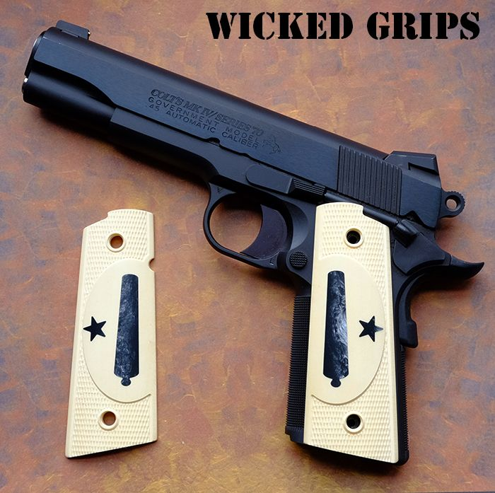 CUSTOM 1911 GRIPS WOOD GEM SERIES BLACK PEARL IN HOLLY AMBI