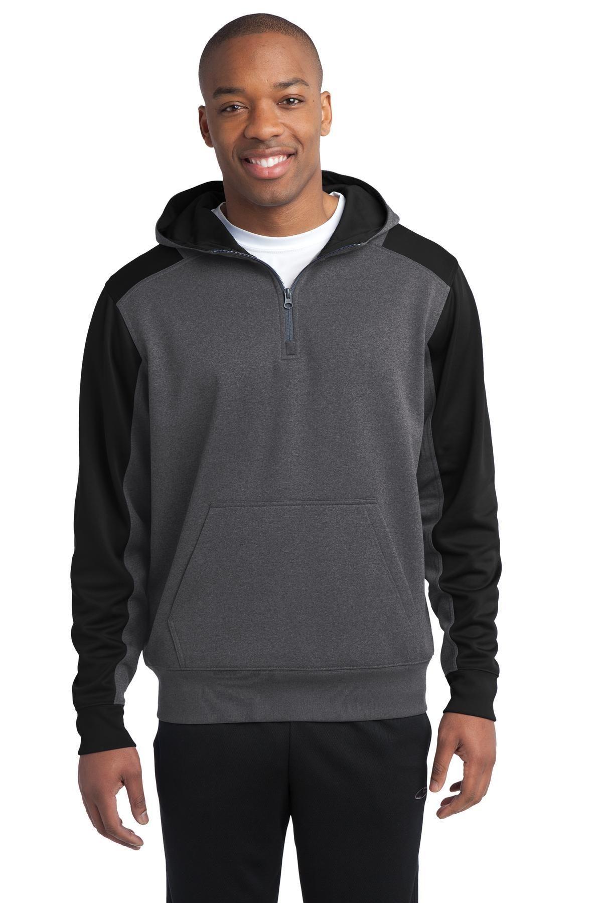 SportTek Tech Fleece Colorblock 1/4Zip Hooded Sweatshirt