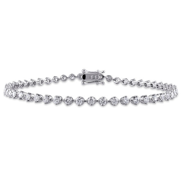 2 Ct T W Diamond Tennis Bracelet In 10k White Gold 7 25 Sterling Silver Bracelets Jewelry Bracelets