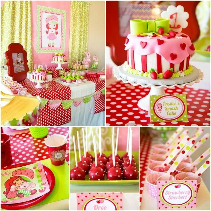 Strawberry shortcake themed 1st birthday party with such for 1st birthday decoration packages