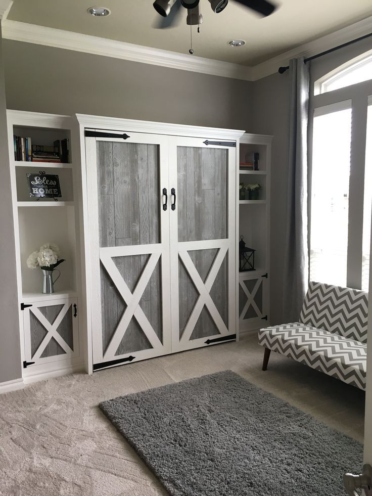 Farmhouse style Murphy bed Murphy bed diy, Murphy bed