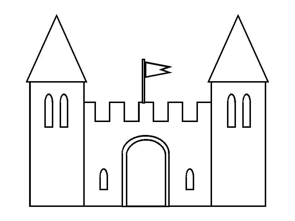 Simple Castle Template Kids Worksheets Printables Castle Coloring Page Castle Drawing