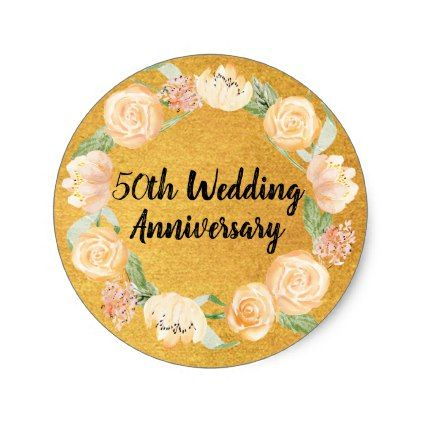 #Blush Pink Roses On Gold 50th Wedding Anniversary Classic Round Sticker   # Wedding Gifts