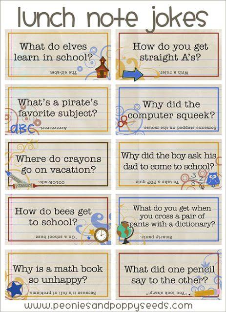 School Jokes lunch note printables Peonies and Poppyseeds http