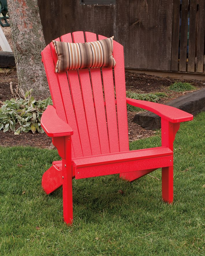 Brightly Colored Red Adirondack Polywood Porch / Patio / Lawn Chair   Amish  Made In The USA