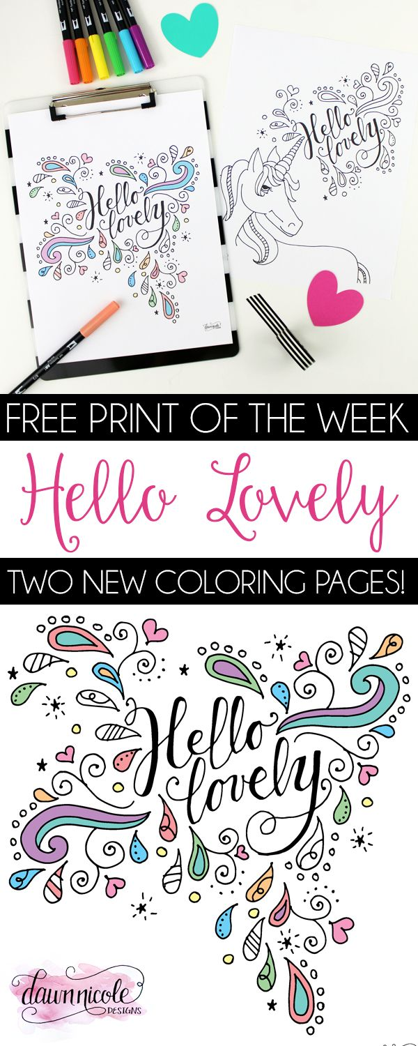Hello Lovely Coloring Pages Coloring Pages Free Adult Coloring
