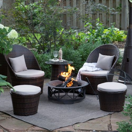 Coral Coast Layton Wicker Outdoor Fire Pit Chat Set - Outdoor Bistro Sets at Hayneedle
