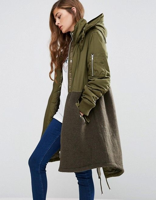86c5a0544a0 Parka in Mixed Fabric with Quilting