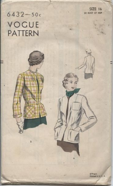 Vintage Misses Jacket Vogue Sewing Pattern 6432 Size 16 Era 1930 ...