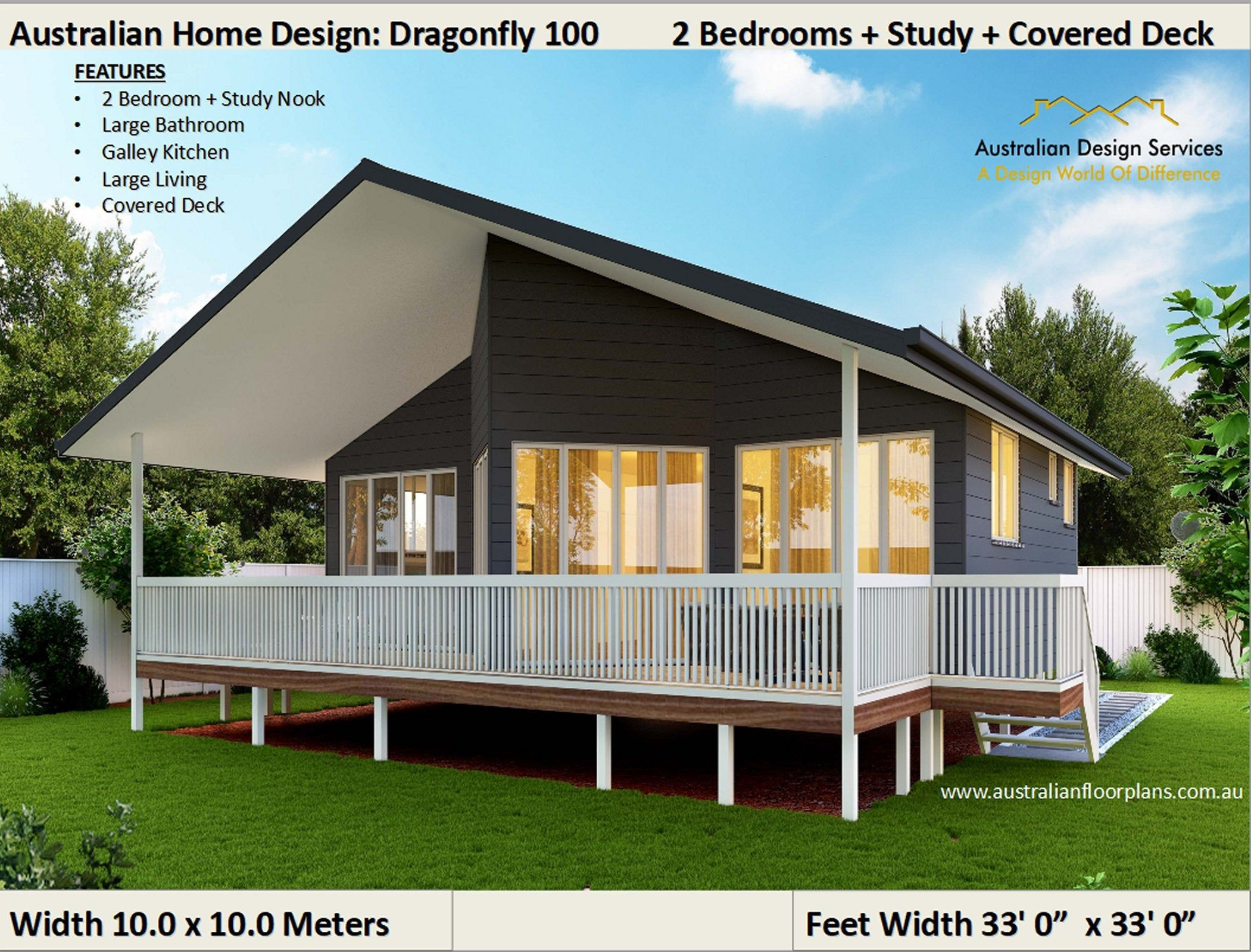 Diy Granny Flat 2 Bed Study Small Home Design Owner Builder Kit Home Plans On Timber Floor 100m Small House Design Small Cottage Homes Small Modular Homes