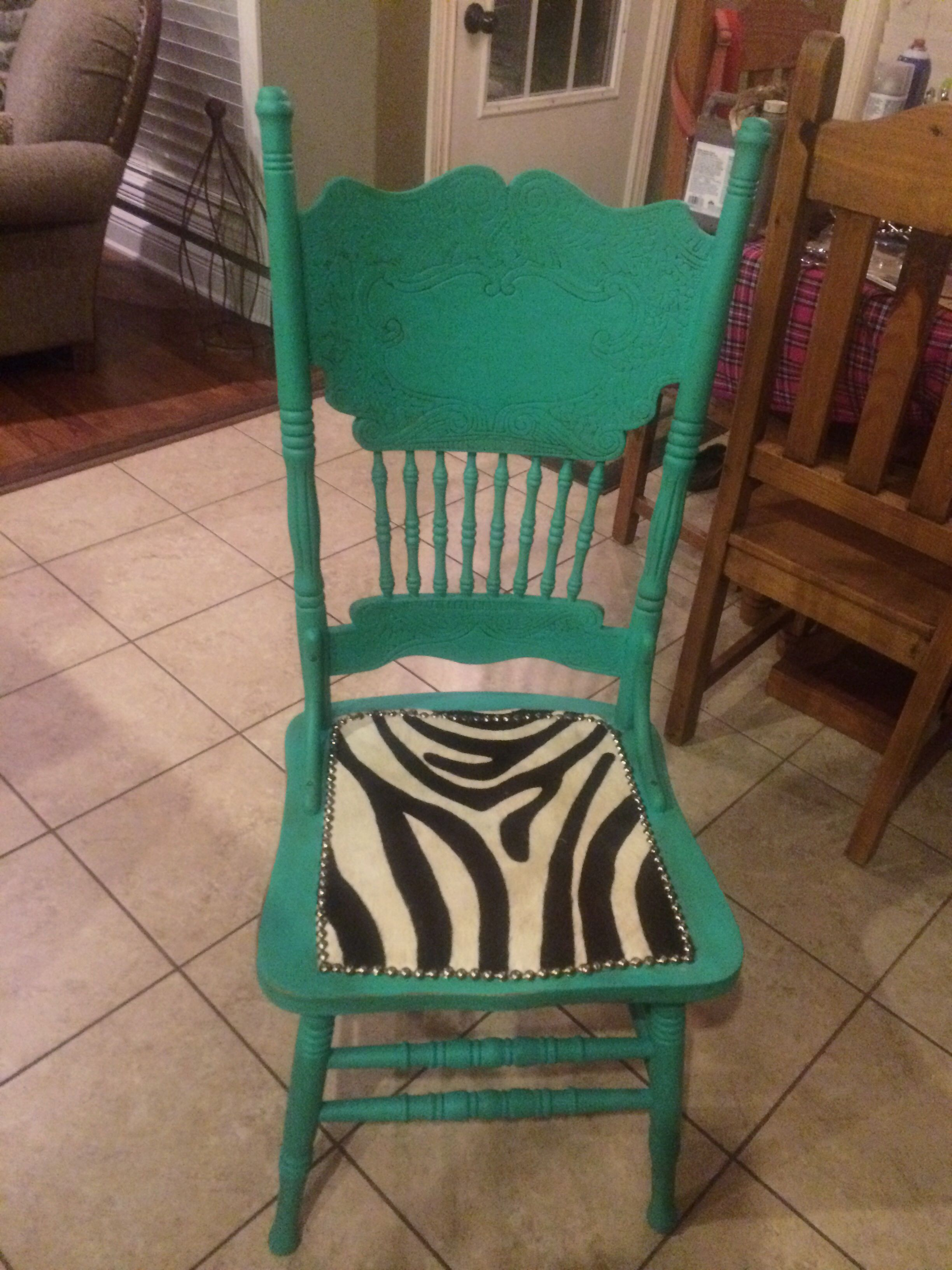 Turquoise shabby chic western cowgirl chair with zebra print hair on