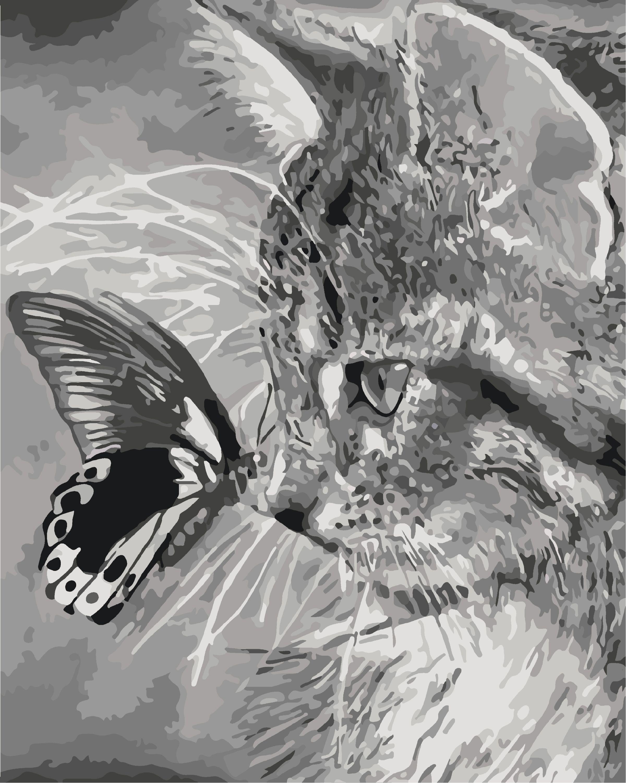 Картину по номерам Котенок и бабочка сможет раскрасить ...