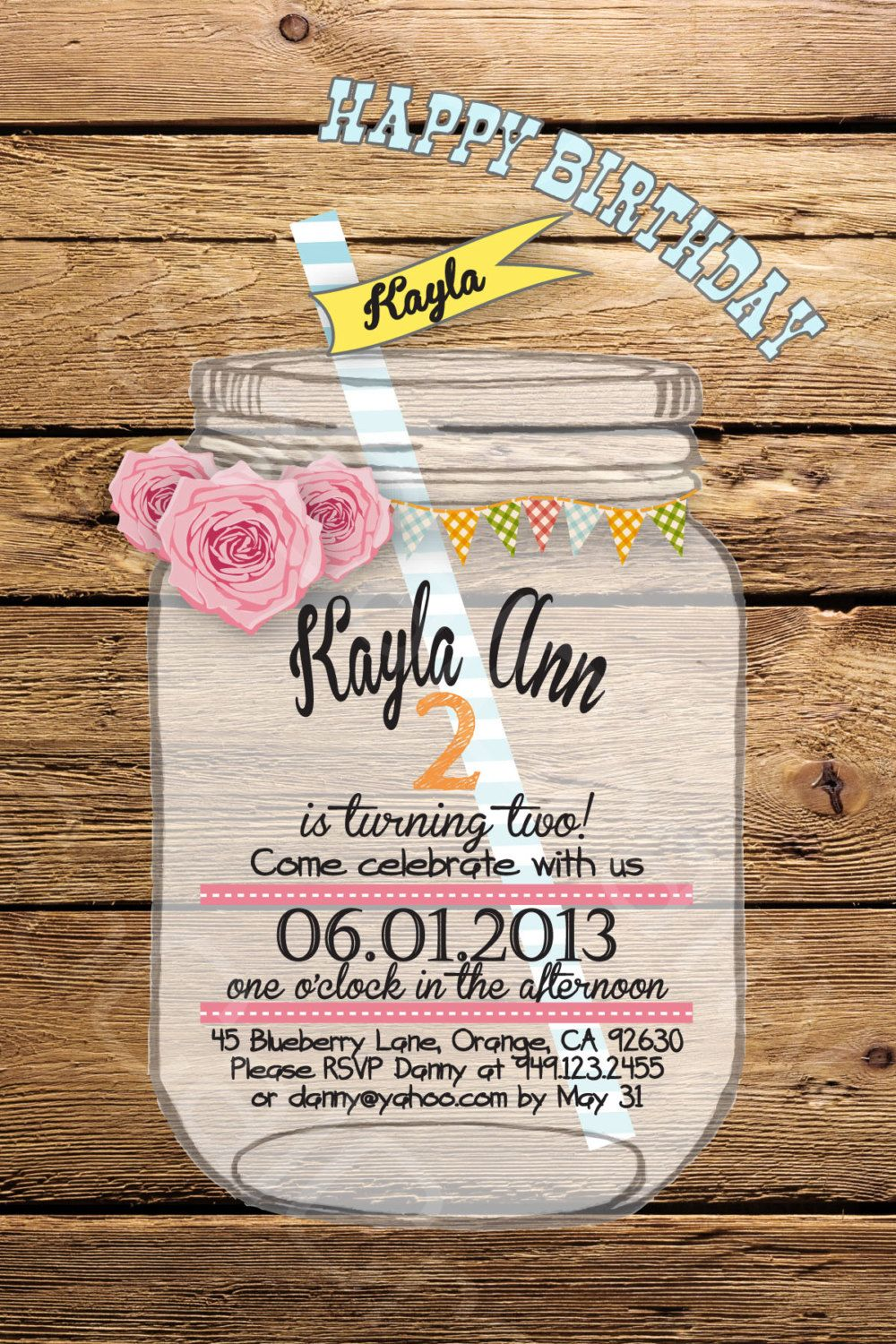 rustic country theme birthday party invitation by socalcrafty
