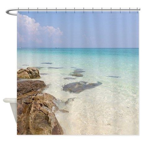 Beach Themed Shower Curtain Featuring Crystal Clear Waters Of A Tropical Also In The Image Are Rocks And White Sand