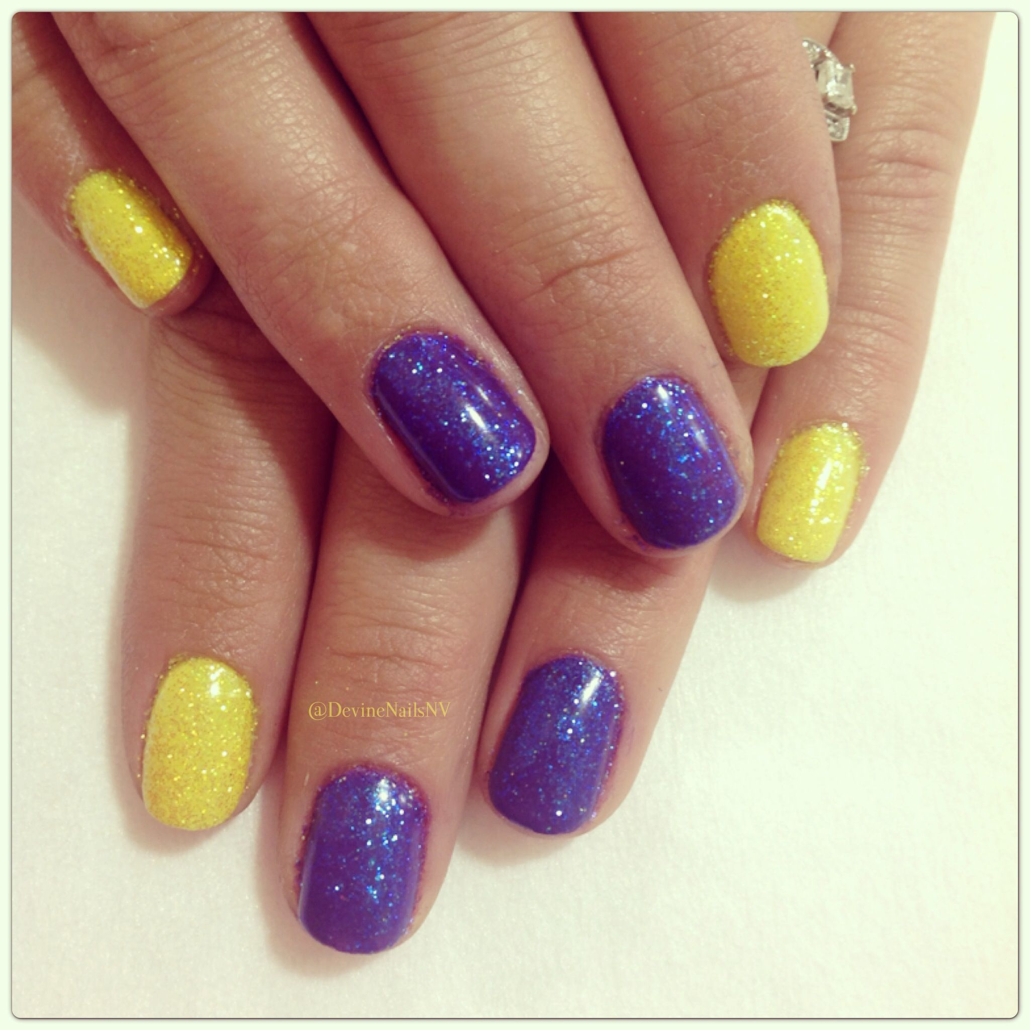 neon yellow and purple nails 2013