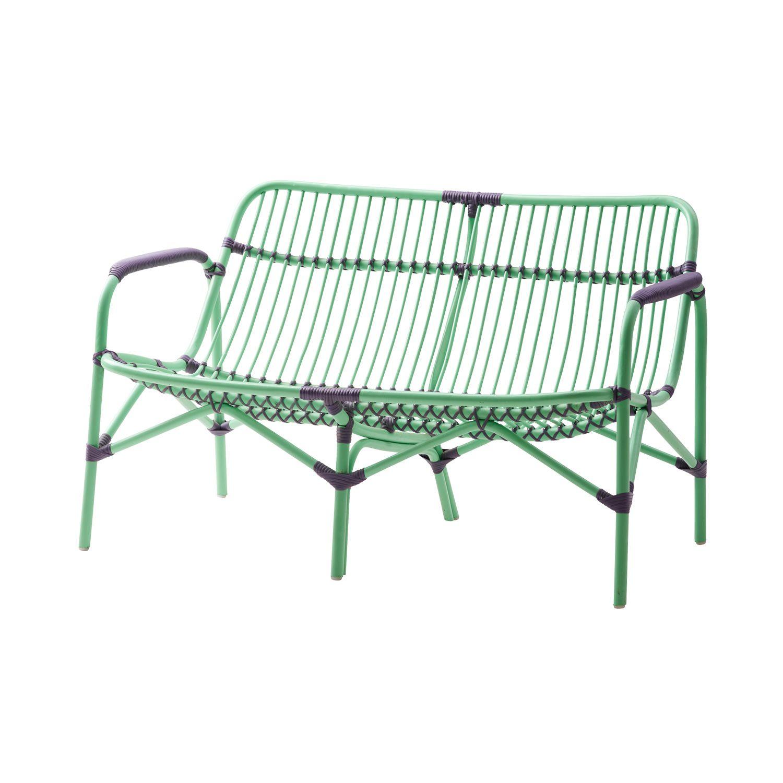 2 Seater Cane Sofa - Green | Balcony | Pinterest