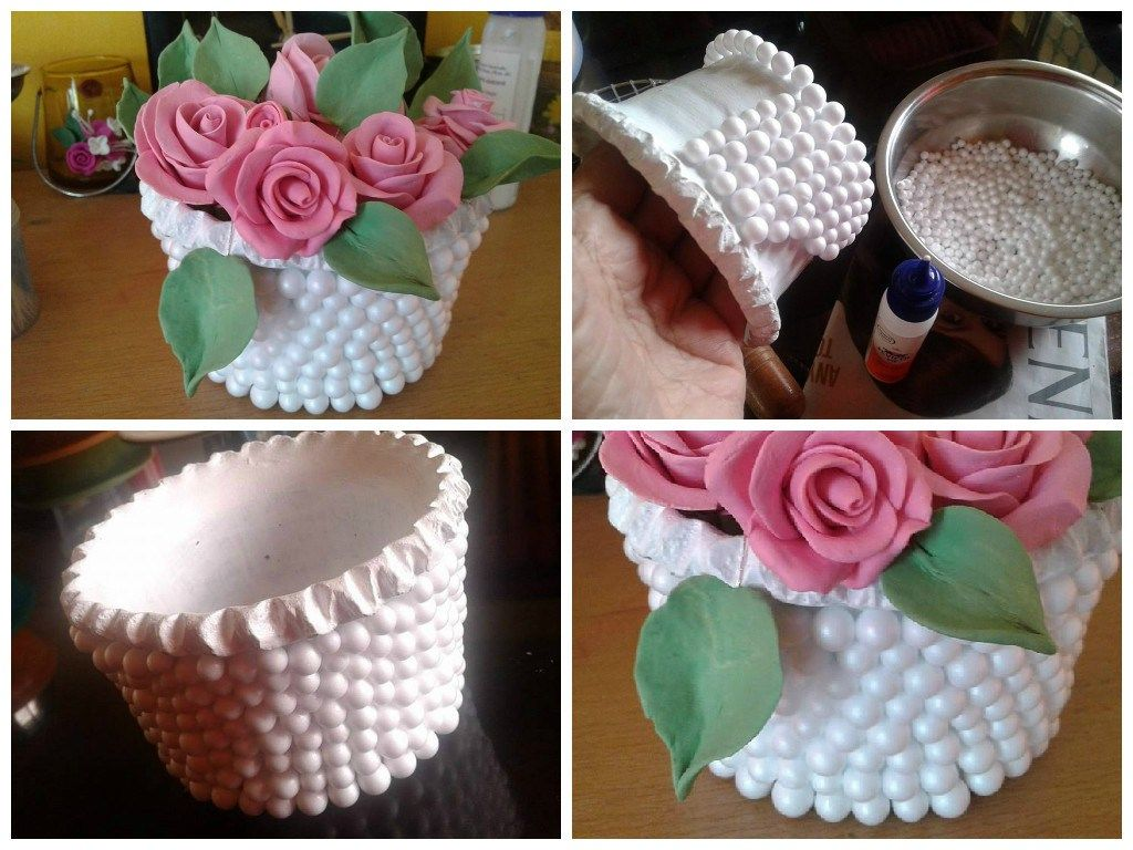 Thermocol Balls Decorate Flower Vase Crafts Pinterest Flower