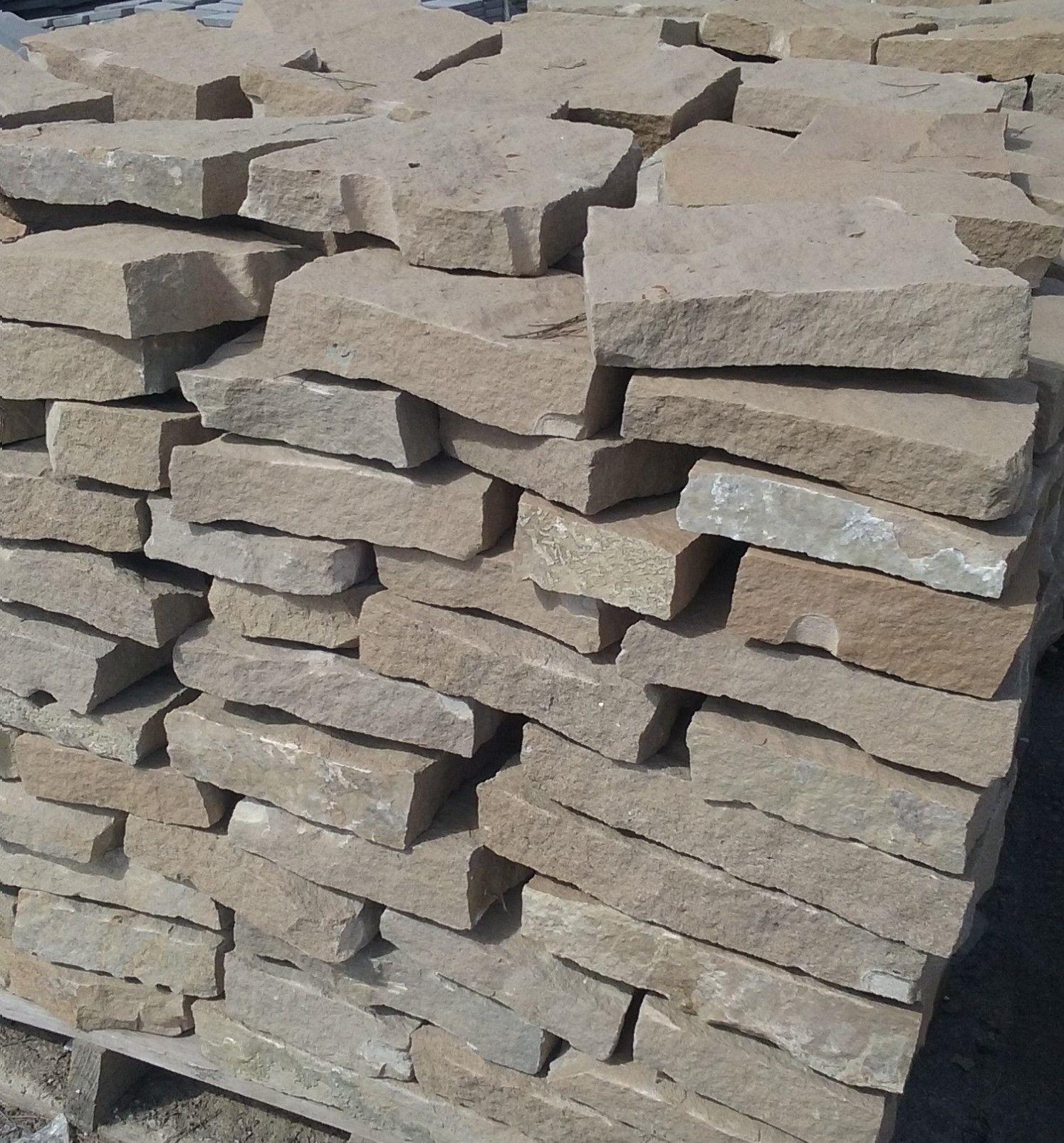 Losa arenisca marr n de 3 a 4 5 cm piedra natural para pavimentos y aplacados tonos muy - Pared de piedra natural ...