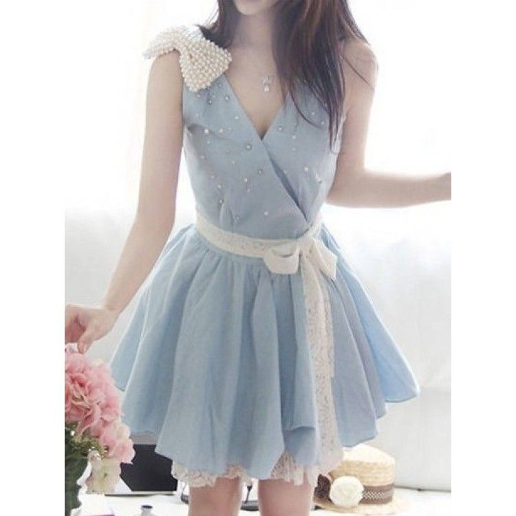 Stunning Soft Denim Summer Dress With Under Skirt With Attached Lace Hem And Attached Lace Belt Features Zip Back Dresses Lace Summer Dresses Skirt Fashion