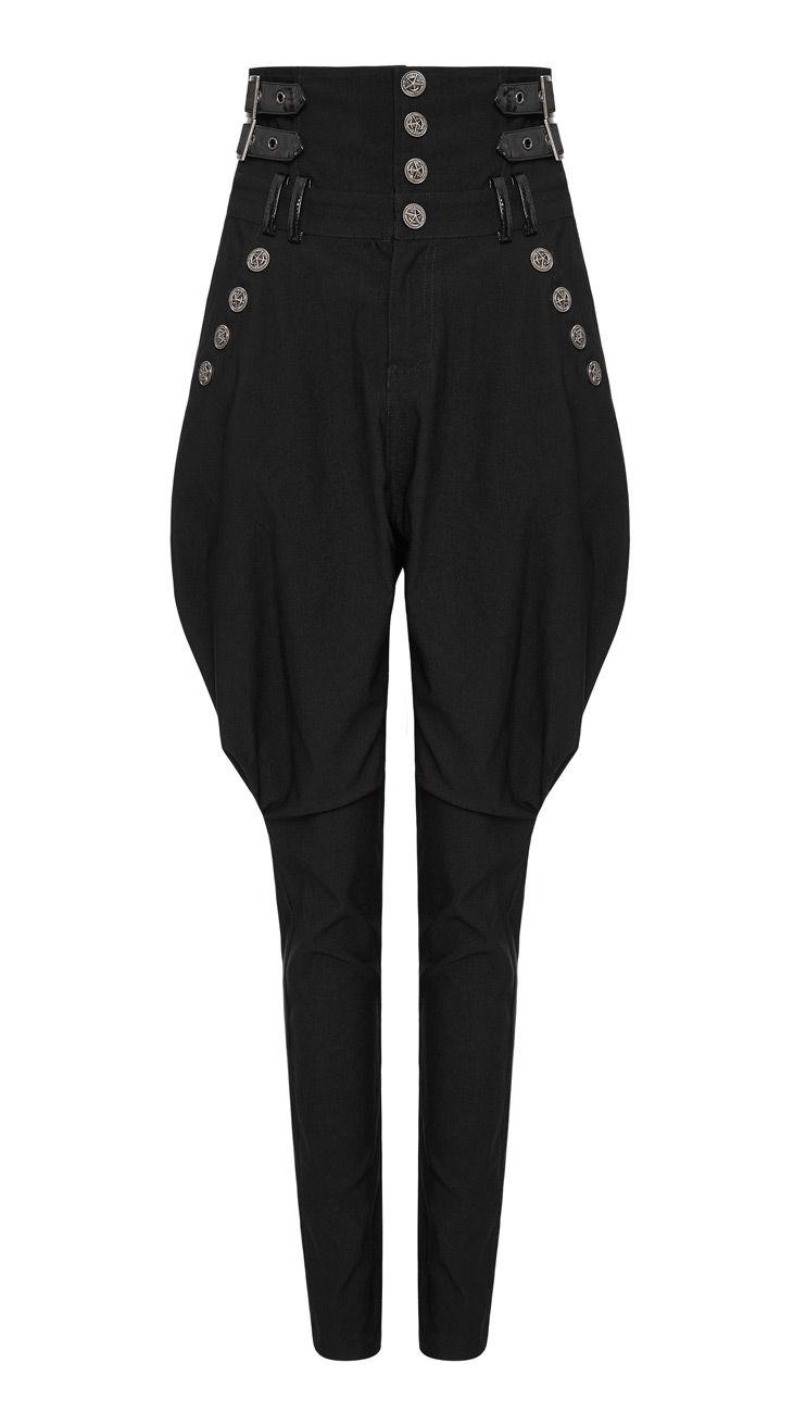 Pantalon noir bouffant avec ceintures poches et boutons b9641437675